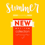 Summer new collection advertising banner. Text poster with graphic elements. Red and yellow backdrop. Template, mock-up Royalty Free Stock Photo
