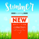 Summer new collection banner. Vintage style text poster with graphic elements, blue summer sky, green, lush grass Royalty Free Stock Photos