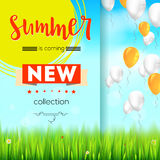 Summer new collection. Stylish advertisement text poster on blue summer sky backdrop with clouds, flying balloons, grass Stock Photo