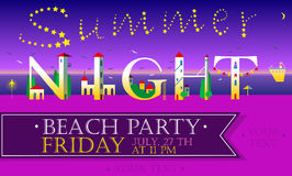 Summer Night. Beach Party Inscription. Cute houses Font Stock Images