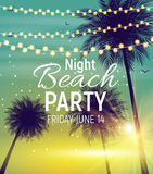 Summer Night Beach Party Poster. Tropical Natural Background  wi. Th Palm. Vector Illustration EPS10 Royalty Free Stock Photos