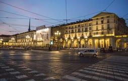 Summer night in the city - Piazza Vittorio Veneto Royalty Free Stock Photography