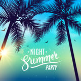 Summer night dance party. Beach summer night party poster. Travel vacation design flyer Royalty Free Stock Photography