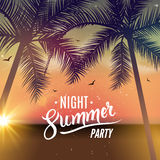 Summer night dance party. Beach summer night party poster. Travel vacation design flyer Royalty Free Stock Photo