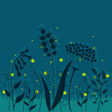 Summer night. Elegant floral background with fireflies. Elegant floral background with summer herbs and  fireflies Stock Photo