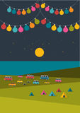 Summer night festival, party music poster. Stock Photo