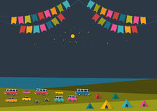 Summer night festival, party music poster, background with color flags and retro cars, vans, buses and tent field. Stock Photos