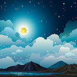Summer night landscape - full moon, mountain, lake. Vector night landscape with cloudy sky, stars, yellow full moon, mountains and calm lake. Summer natural Stock Photography