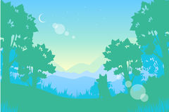 Summer night landscape. Moon and wolf. Vector illustration Vector Illustration