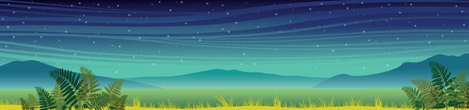 Summer night landscape - mountains, fern, grass. Night summer panoramic landscape. Silhouette of mountains, green grass and fern on a starry sky background Stock Images