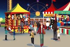 Summer night outdoor fair. A vector illustration of people going to summer night outdoor fair vector illustration