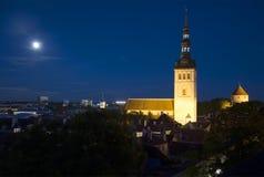 Summer night over Tallinn. View of the Niguliste Church Stock Photos