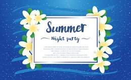 Summer night party greeting season with Plumeria Flowers frame o Royalty Free Stock Photo