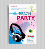 Summer night party vector flyer template. Royalty Free Stock Photos