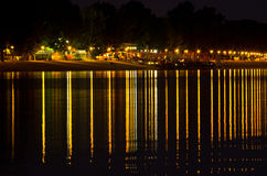 Summer night promenade by the river, view from Ada island, Belgrade Royalty Free Stock Photography