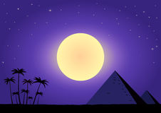 Summer night with pyramids Stock Images