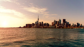 Summer night Skies. Skyline shot of toronto from a boat Royalty Free Stock Image