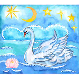 Summer night sky, lotus, sea background and swan with lift wings Royalty Free Stock Images