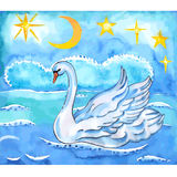 Summer night sky, sea background and swan with lift wings Stock Images