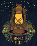 Summer Night Sky Vintage lamp with night-fly Royalty Free Stock Images
