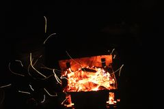 Sparks fly from the grill Royalty Free Stock Photo