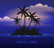 Summer night tropical island with palm stock illustration