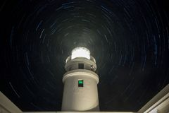 Summer Night V Caballeria Lighthouse royalty free stock photography