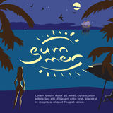 Summer night vacation concept background with space for text. Royalty Free Stock Image
