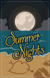 Summer Night View of the Beach with Full Moon, Vector Illustration Royalty Free Stock Photography