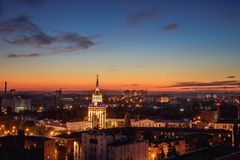 Summer night in Voronezh, Russia. Panorama of downtown Royalty Free Stock Image