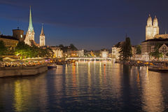 Summer Night in Zurich Royalty Free Stock Photos