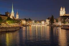Summer Night in Zurich Royalty Free Stock Photos