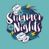 Summer nights typography banner round design in tropical flower frame Royalty Free Stock Photos