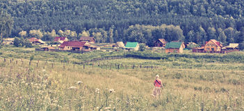 Summer noon in a mountain village Stock Photography