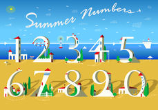 Summer Numbers. White houses on the beach Royalty Free Stock Images