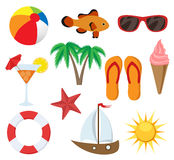 Summer object set. Including palm tree, boat, sunglasses, cocktail, fish, etc Stock Images