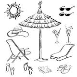 Summer Objects, Outline Stock Photo