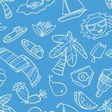 Summer objects seamless pattern. Beach background with palms and fruits. Vector illustration royalty free stock photo