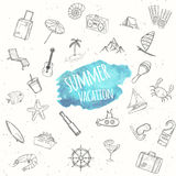 Summer objects set. Vacation background. Stock Image