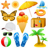Summer objects vector Royalty Free Stock Photo