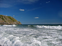 Summer at the ocean. Waves breaking in the gower peninsula, south ales stock photos