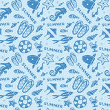 Summer, Ocean, beach image seamless pattern. On light blue background Stock Image