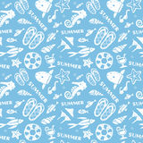 Summer, Ocean, beach image seamless pattern. On light blue background Royalty Free Stock Photography