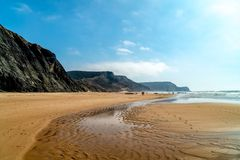 Summer Ocean Beach And Mountains Landscape Of Portugal stock photo