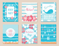 Summer Ocean and Beach Theme Hawaiian Posters and Cards. Vector Set Royalty Free Stock Photography