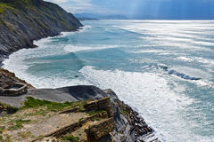 Summer ocean coastline view in Barrika town (Spain). Stock Photography