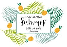 SUMMER 50% OFF SALE, Lettering design. SUMMER 50% OFF SALE-background loyout. Lettering design for banner, flyer, invitation, poster, greeting card, discount stock illustration