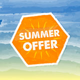 Summer offer in orange label over sea background Royalty Free Stock Photo
