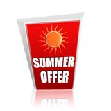 Summer offer red banner with sun Stock Image