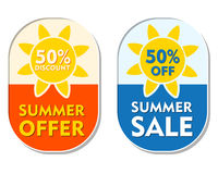 Summer offer and sale 50 percent off discount, two elliptical la. Summer offer and sale 50 percent off discount text banners, two elliptic flat design labels royalty free illustration